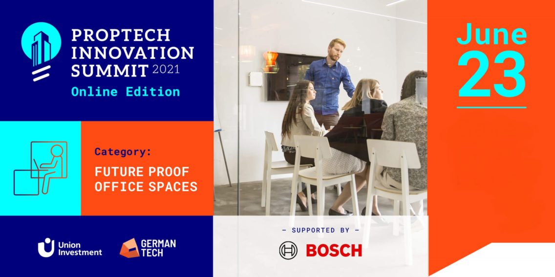 Flyer of the session Future Proof Office Spaces at the PropTech Innovation Summit with Bosch logo