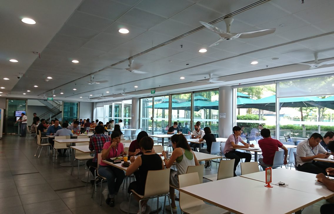 Bosch Singapore Canteen, people eating and chatting