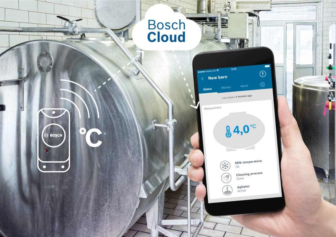 English smartphone app for milk monitoring by Bosch.IO.